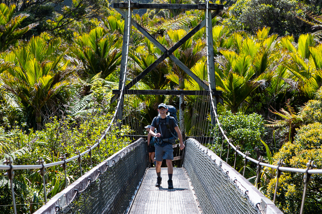 Sam getting stoked about nature and swing bridges!