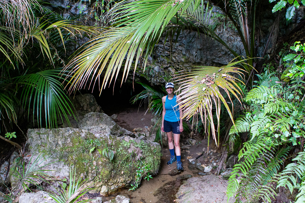 Amy after exploring the glow worms cave & avoid the spiders and their egg sacks!